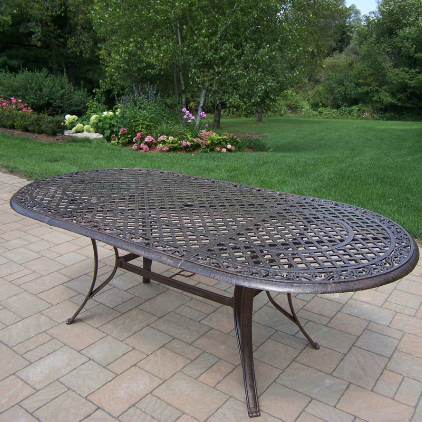 oakland living mississippi cast aluminum 82 x 42 in oval patio dining table