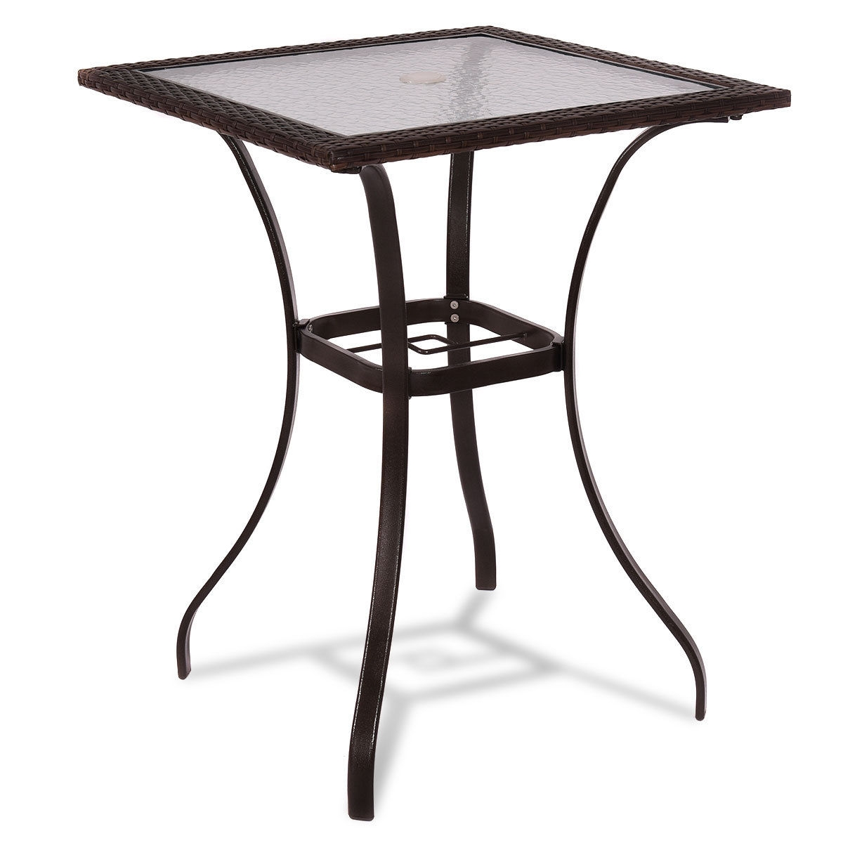 outdoor patio rattan square table with glass top