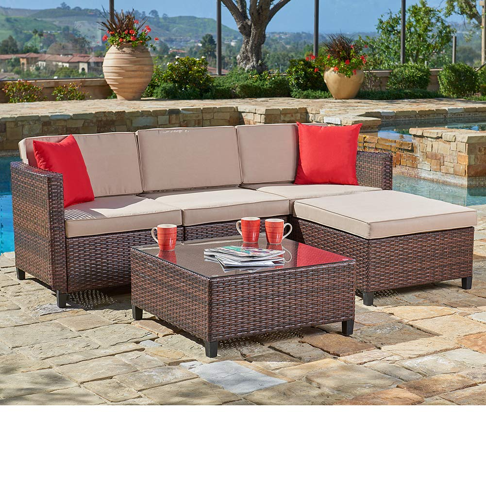 SUNCROWN Outdoor Sectional Sofa (5-Piece Set) All-Weather ... on 5 Piece Sectional Patio Set id=50875