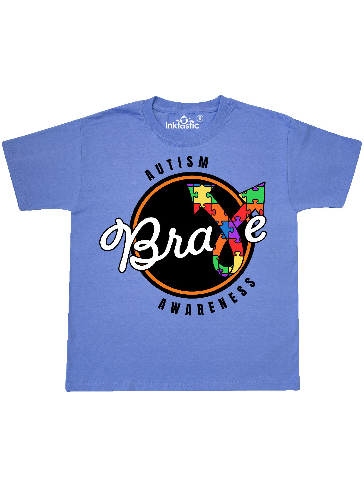 Autism Awareness Brave With Puzzle Piece Ribbon Youth T