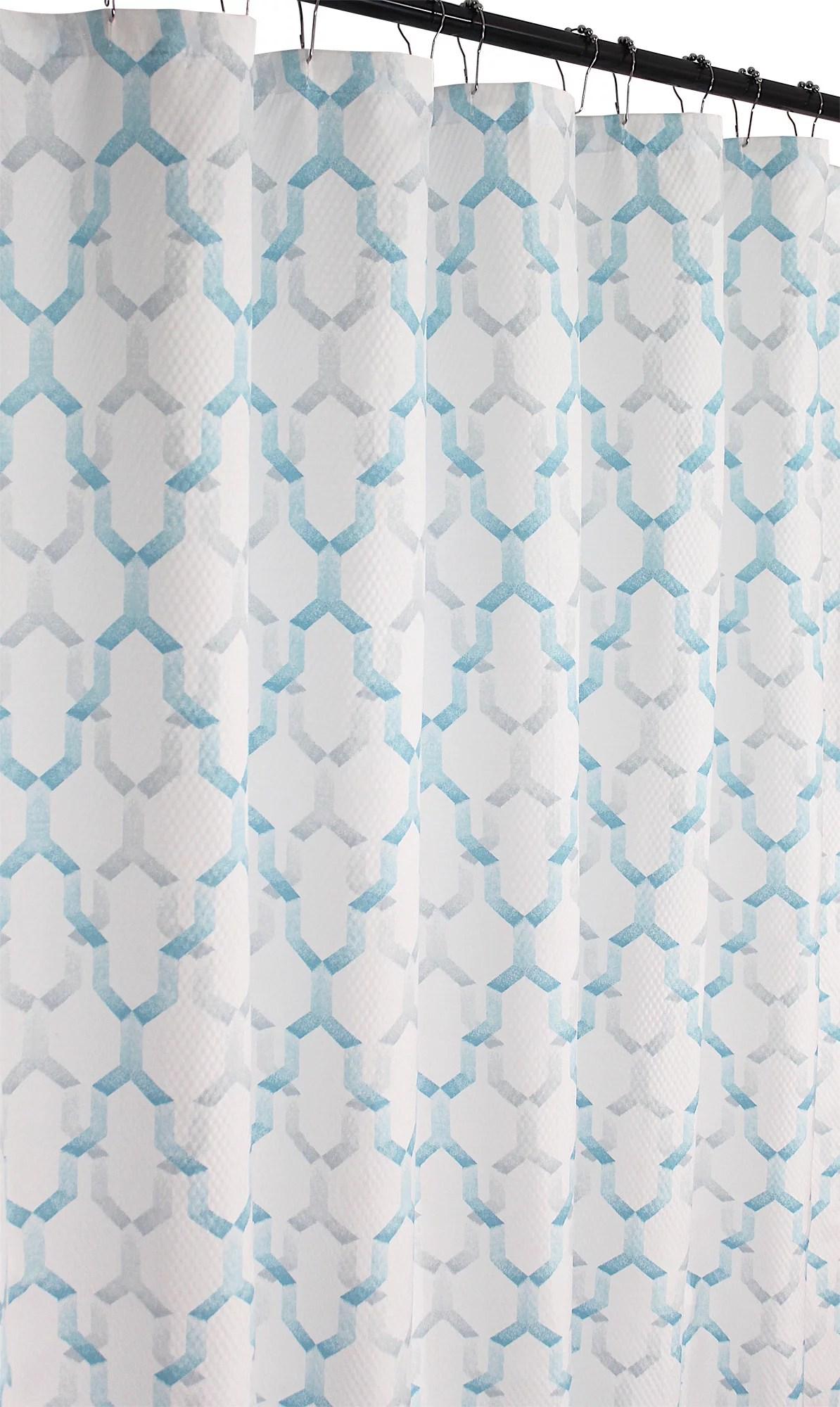 aqua blue and white lattice shower curtain for bathroom fabric microfiber embossed