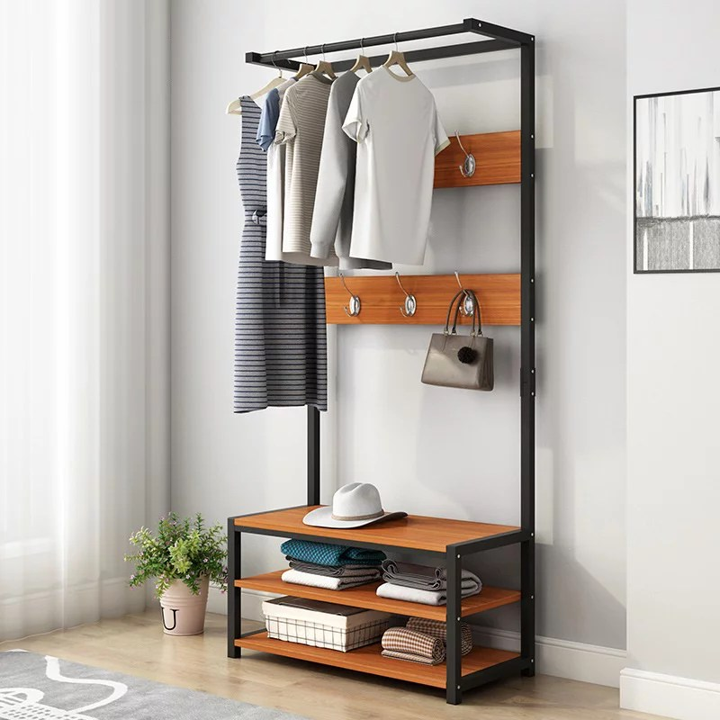 24inch x 67inch vintage coat rack shoe bench hall tree entryway storage shelf wood look accent furniture metal frame 3 in 1 design easy assembly