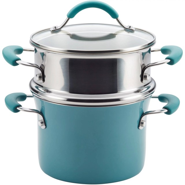 Rachael Ray Cucina Hard Porcelain Enamel Nonstick 3-Qt Covered Multi-Pot Set with Steamer, Agave Blue