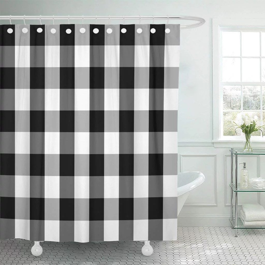 bsdhome buffalo tartan plaid patterns scottish chequered black and white polyester shower curtain 60x72 inches