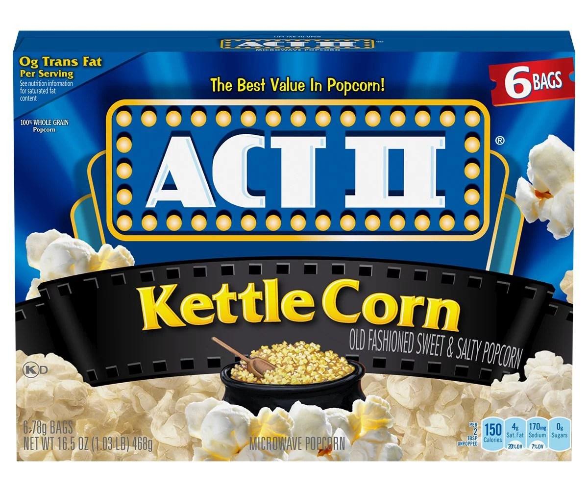 act ii kettle corn microwave popcorn bags 6 count pack of 6 walmart com