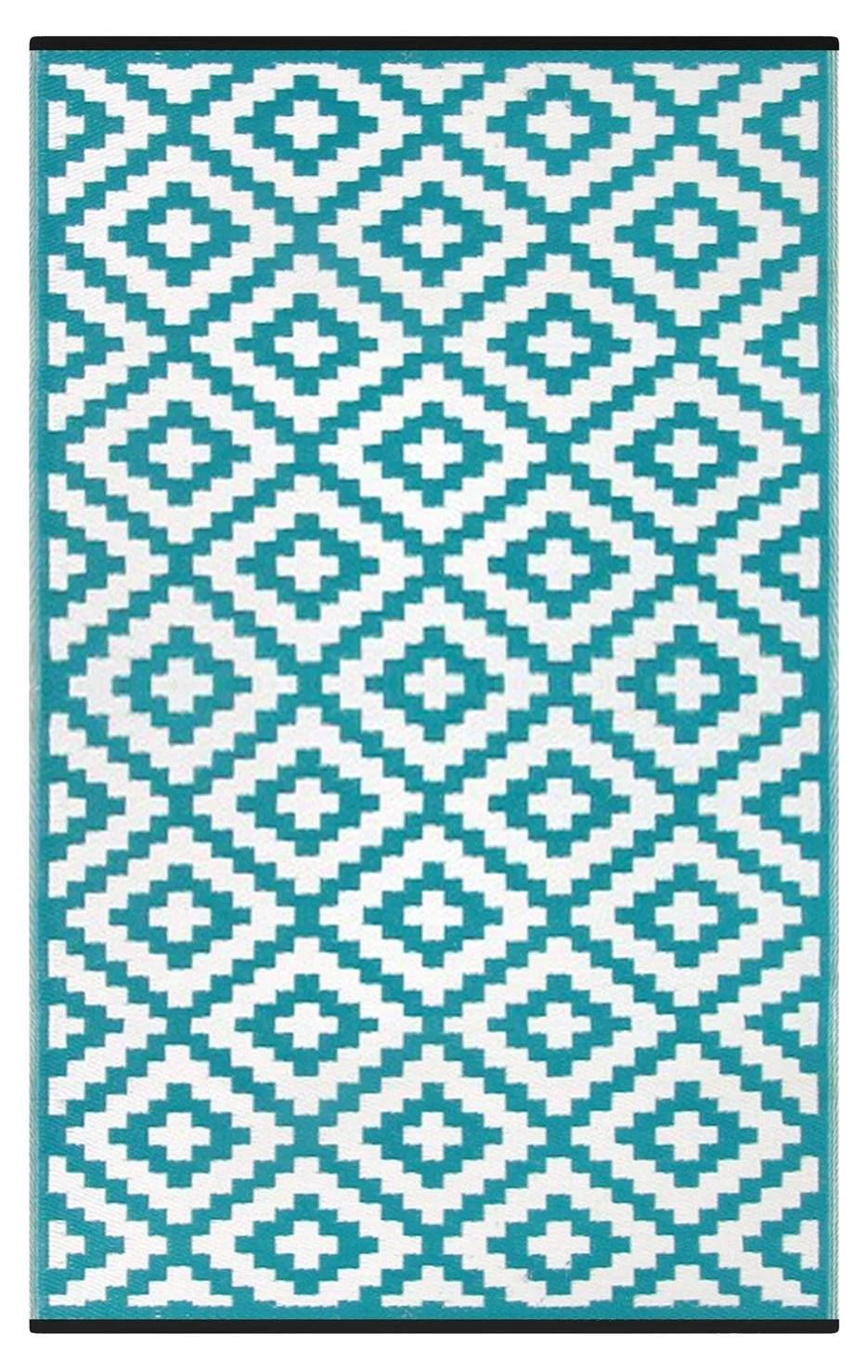 lightweight outdoor reversible plastic nirvana rug 4 x 6 teal blue white