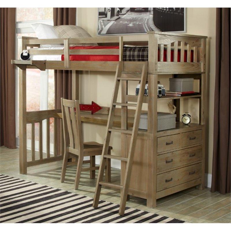 ne kids highlands twin slat loft bed with desk and dresser