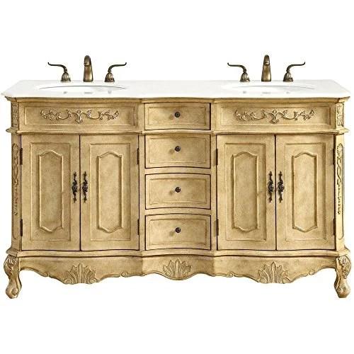60 in double bathroom vanity set in antique beige