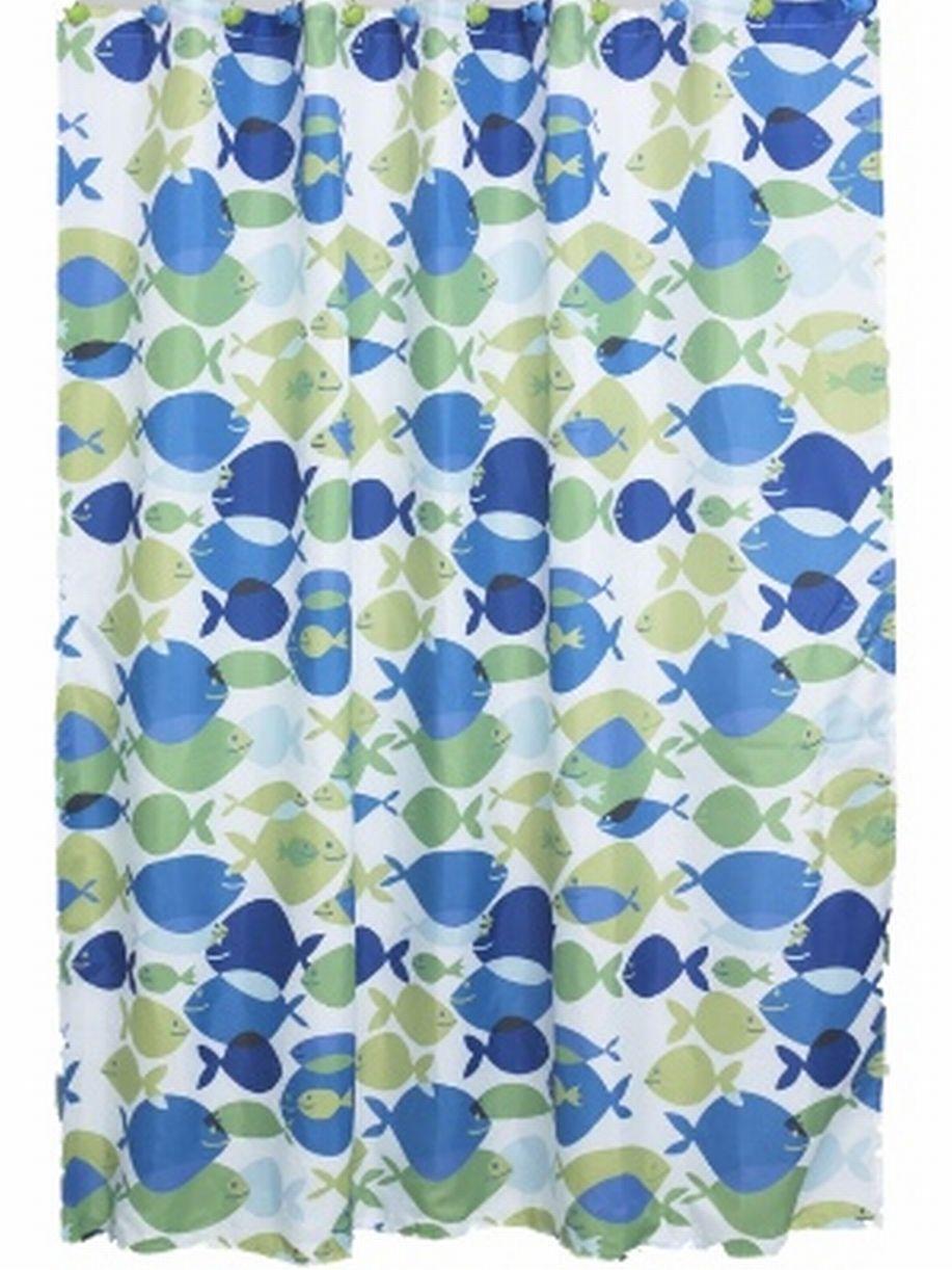 colormate blue green fish fabric shower curtain bath decor
