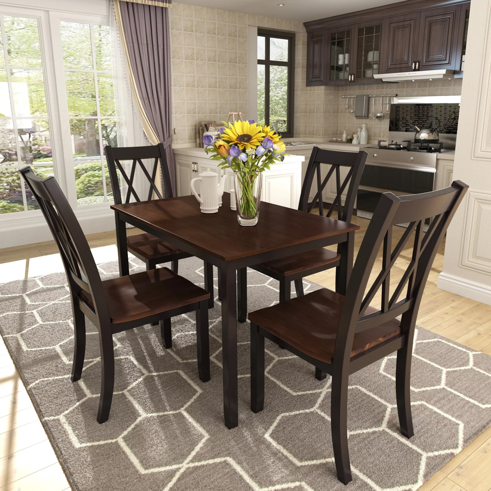 Dining Set Kitchen Table With 4 Pieces Chairs Smooth Surface Wood Dinette Set Solid Acacia Wood Rectangular Breakfast Table With Solid Wood Legs For Dining Room Living Room Kitchen Black S8057