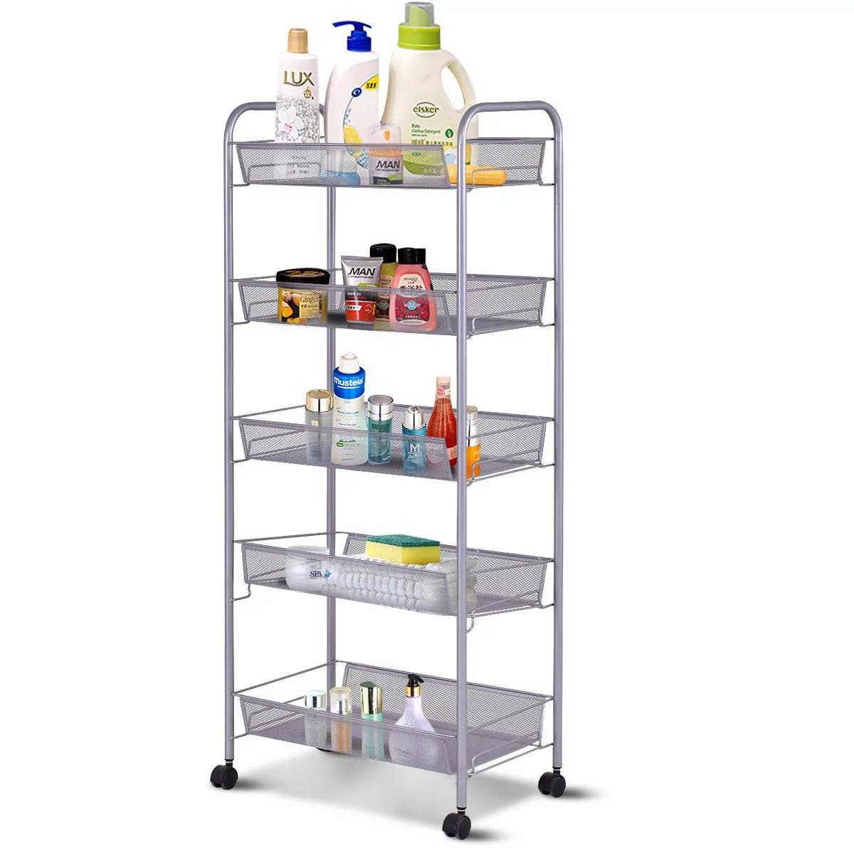 zimtown 5 tier mesh shelving rack shelf kitchen pantry storage rolling utility cart walmart com