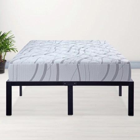 Granrest 14 Platform Metal Bed Frame With Wood Slat Mattress Foundation Queen