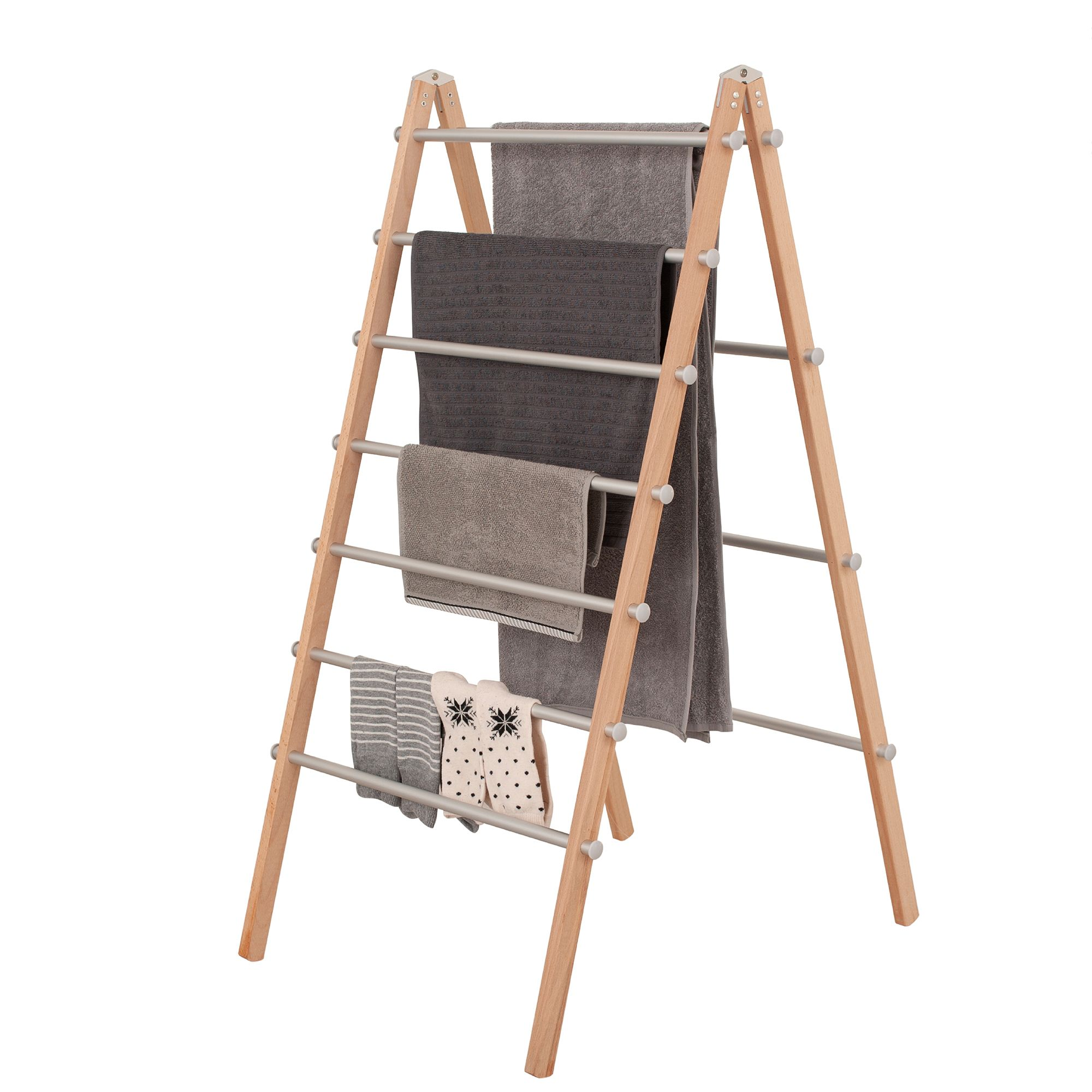 innoka wooden aluminum folding laundry ladder clothes drying rack clothes dryer storage for indoor outdoor home essentials in smart adjustable