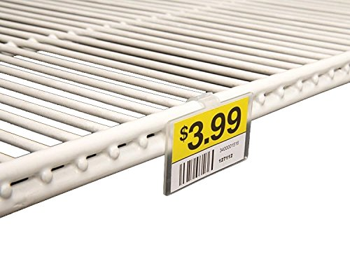 clear plastic double wire shelf label holder with snap lock closure 2 1 4 l x 1 1 4 h 100 pack