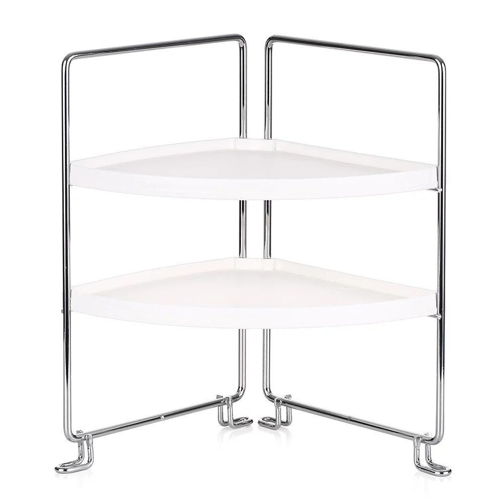 2 tier corner freestanding stackable organizer shelf for kitchen bathroom countertop or cabinet storage rack