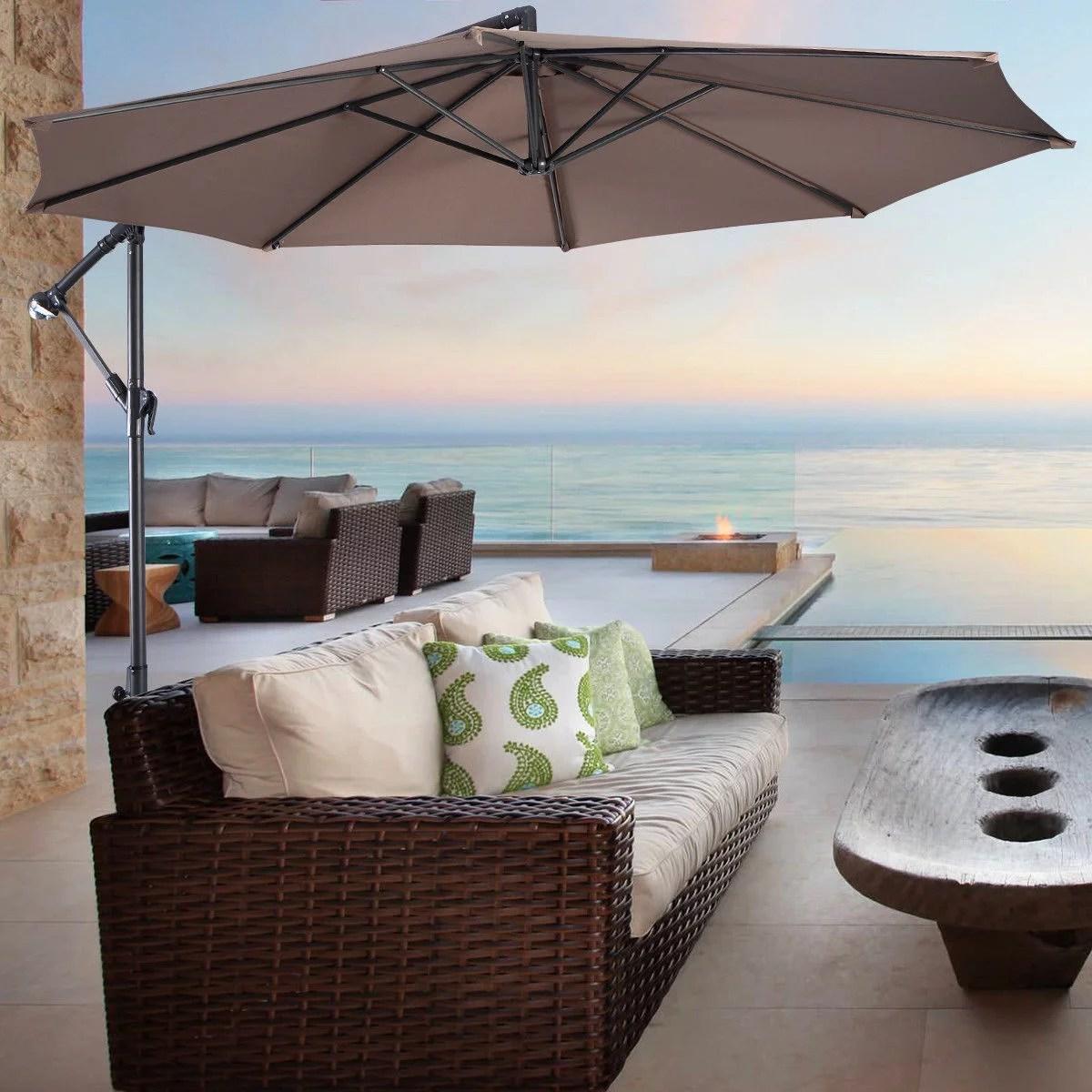 costway 10 hanging umbrella patio sun shade offset outdoor market w t cross base tan