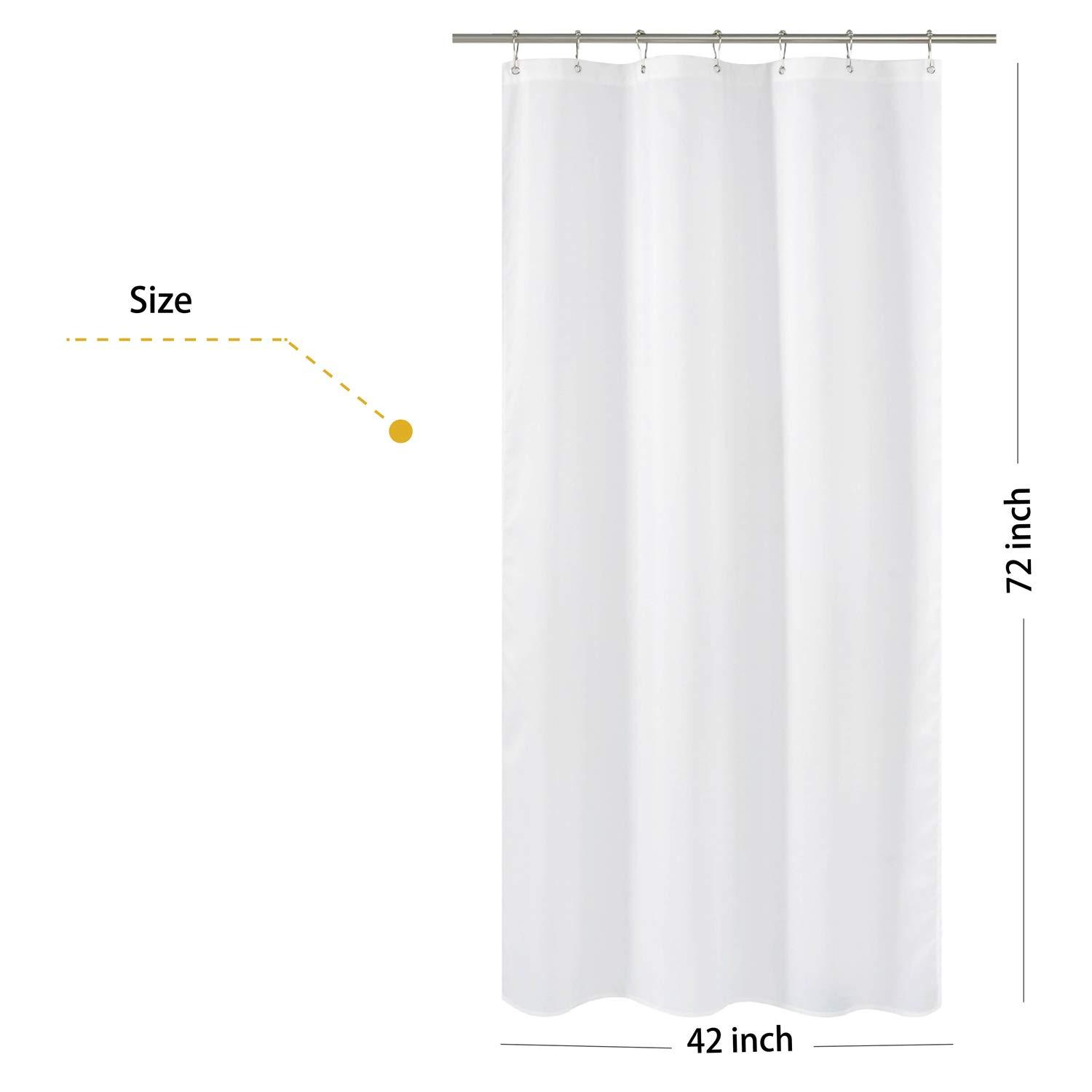 n y home fabric shower curtain liner stall size 42 width by 72 length inches hotel quality washable white bathroom curtains with grommets 42x72