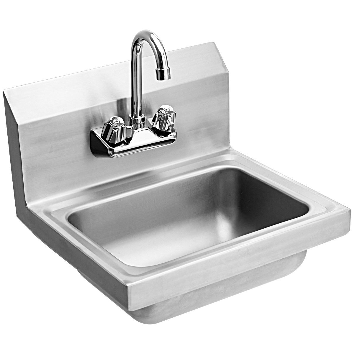 costway commercial stainless steel wall mount hand washing wash sink basin with faucet