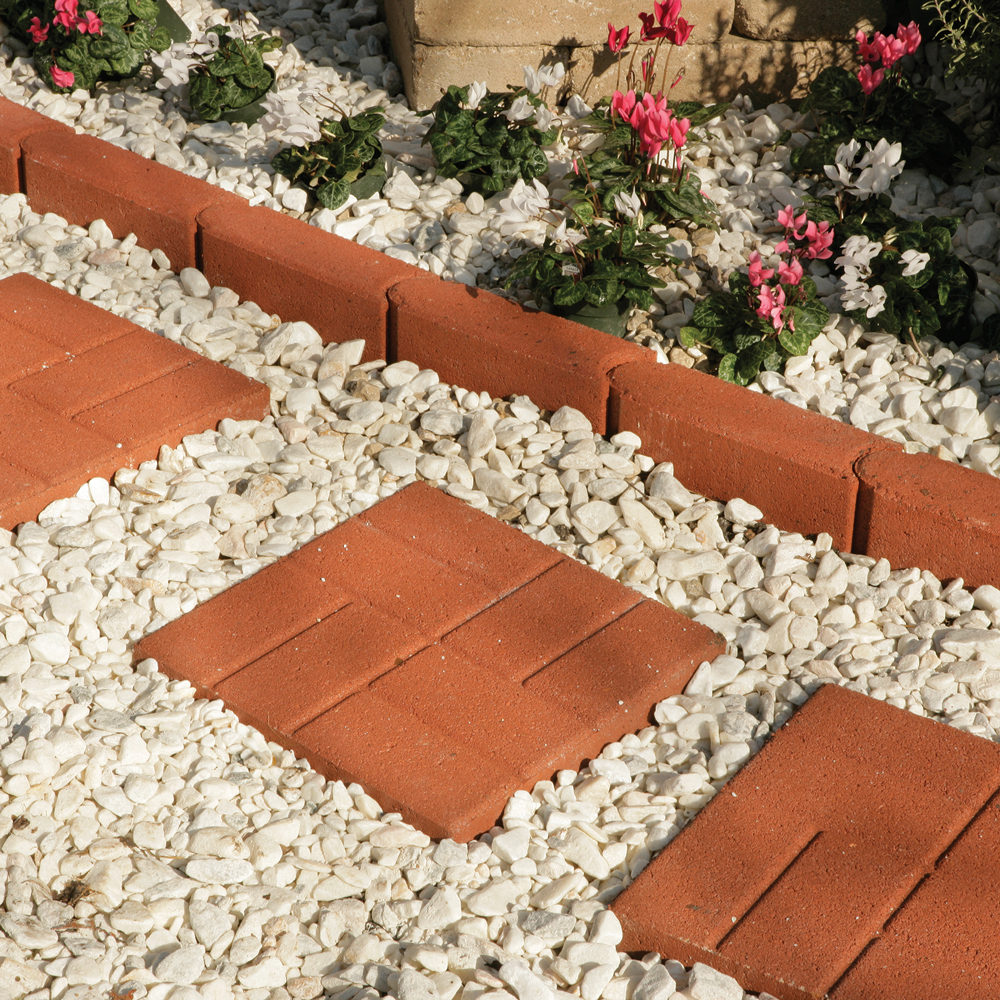 pavestone 16 square brickface red stepping stone