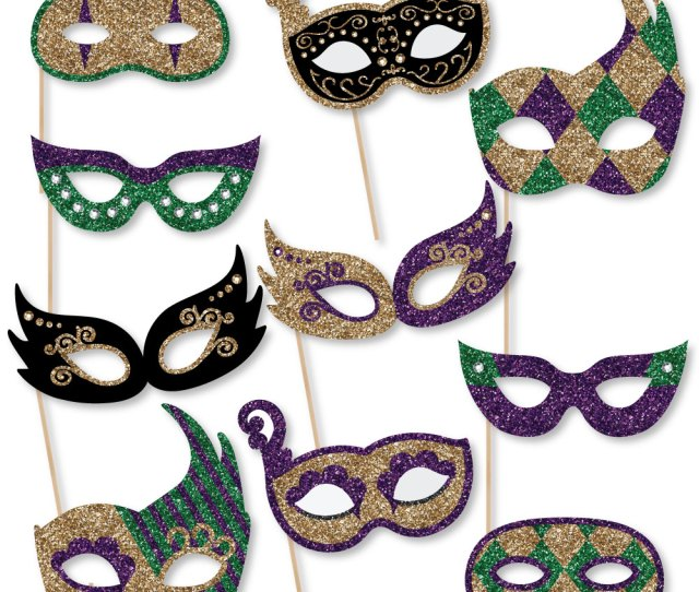 Mardi Gras Masks Glasses Paper Card Stock Masquerade Party Photo Booth Props Kit