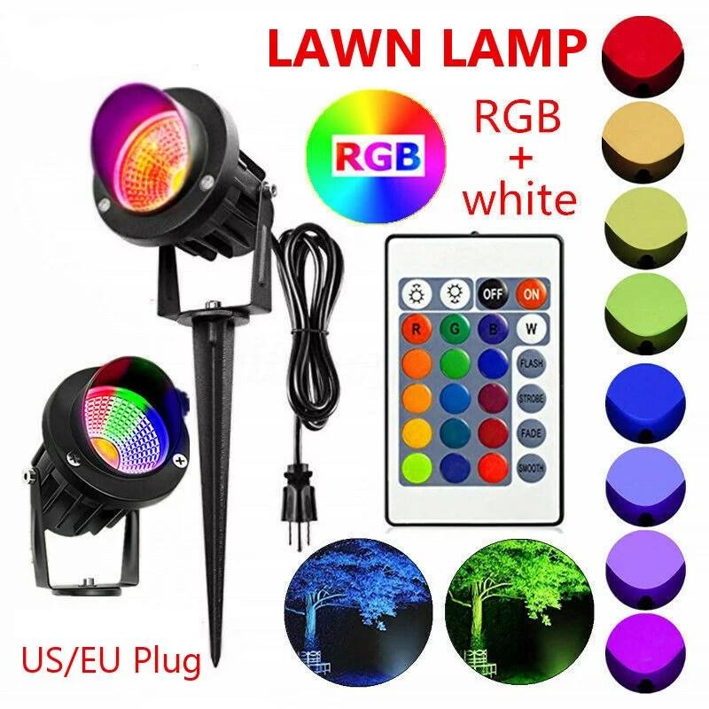 20w rgb color change landscape lighting with quick connectors low voltage remote control led landscape lights ip65 waterproof yard lawn garden flag