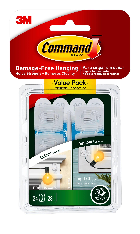 Command Clear Outdoor Light Clips 24 Hooks 28 Strips Per Pack Walmart Com Walmart Com