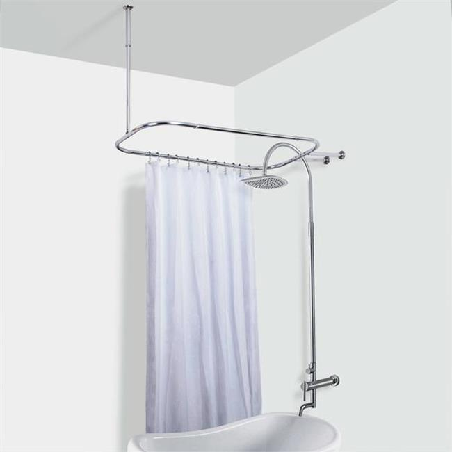 utopia alley hoop shower rod for clawfoot tub chrome