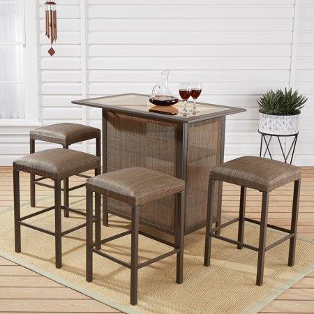mainstays daine park 5 piece patio sling bar stool and table set