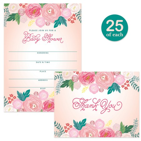 Baby Shower Invitations 25 Thank You Cards Lovely Matching Set With Envelopes Mommy To Be Daughter Female Gender 5 X 7 Write In