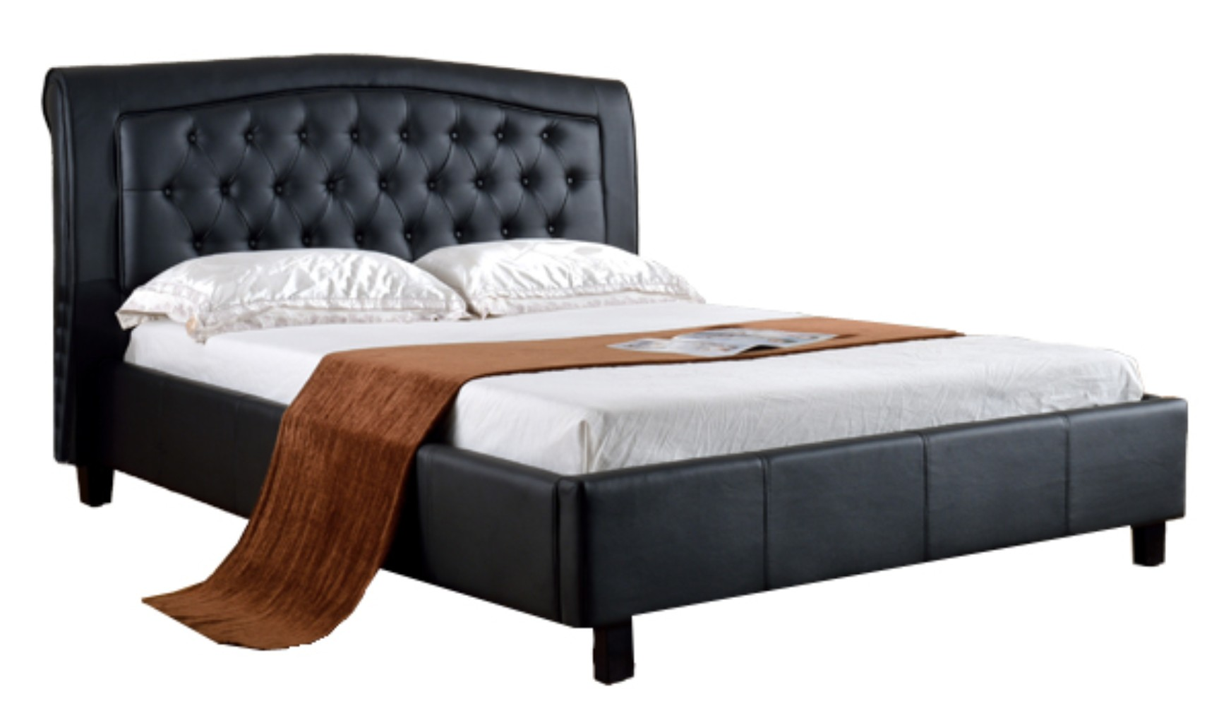 Padded Upholstered California King Size Platform Bed Black