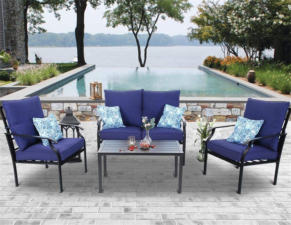 mf studio 4 pc outdoor patio furniture padded deep seating conversation set with 1 loveseat 2 single sofa 1 coffee table 4 free pillow navy blue