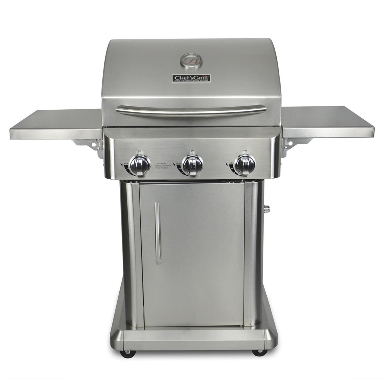 chef s grill 24 3 burner stainless steel patio liquid propane gas grill walmart com