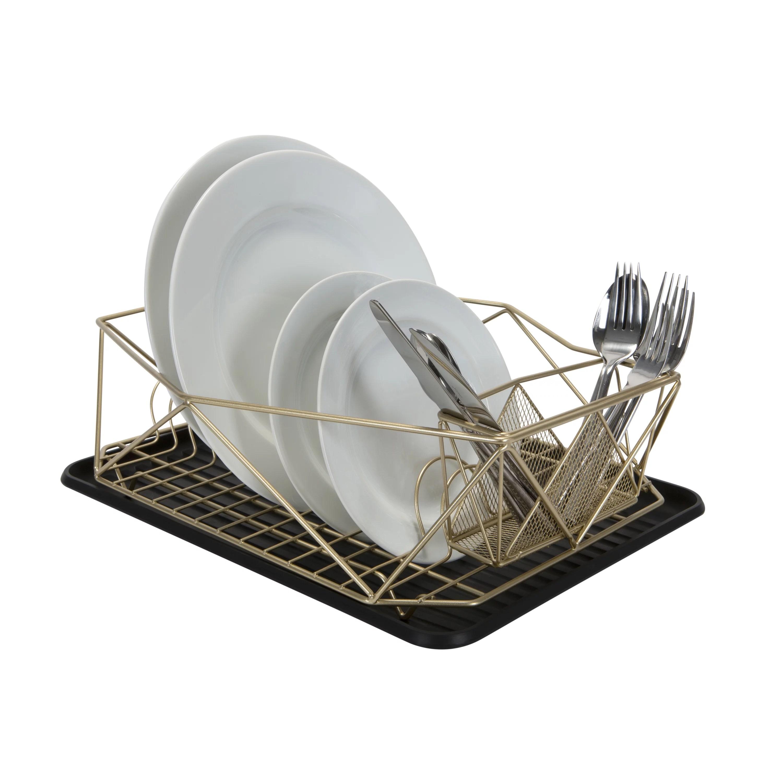 kitchen details geode dish rack in satin gold