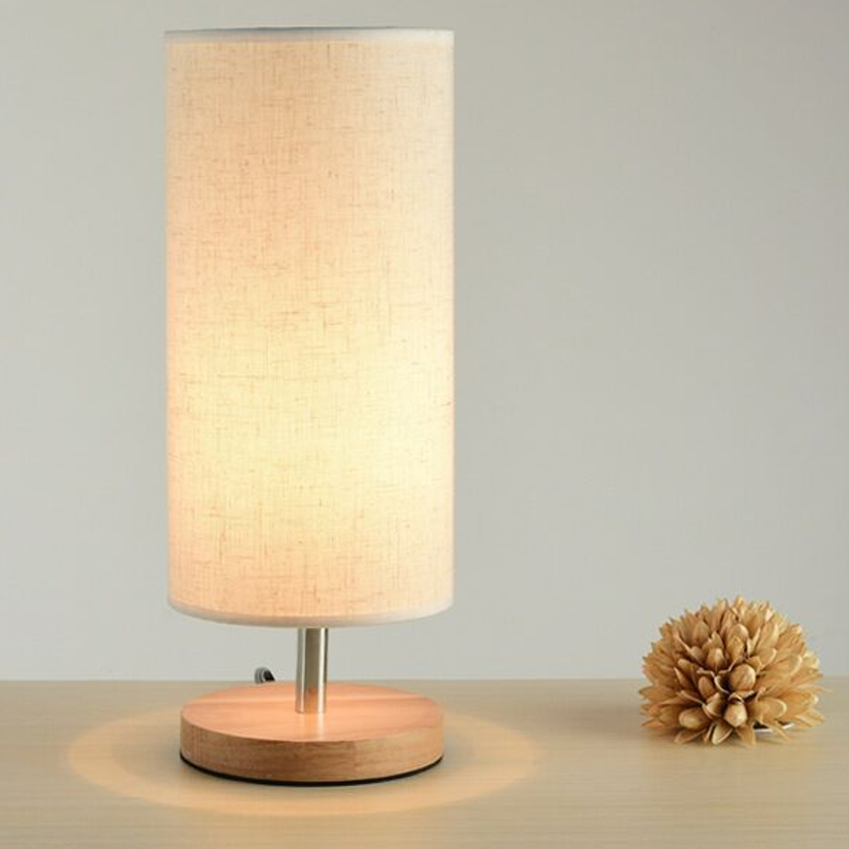 mrosaa table lamp bedside desk lamp solid wood nightstand lamp with linen fabric shade
