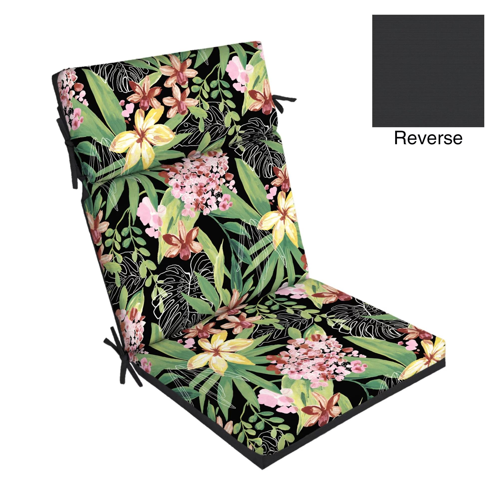 better homes gardens black tropical 44 x 21 outdoor chair cushion