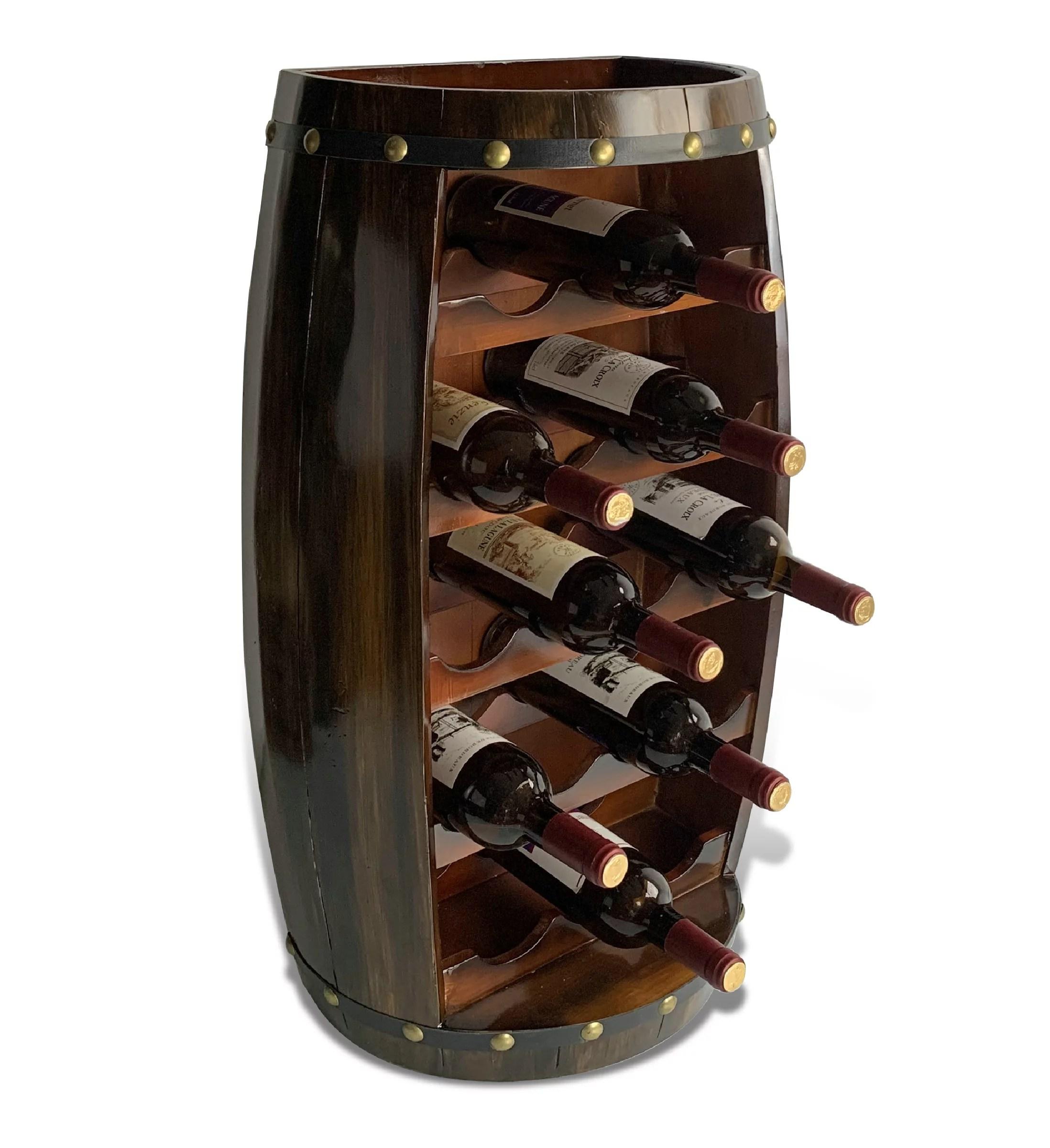 cota global alexander wall mounted wine rack 18 wine bottles freestanding wooden barrel wine holder hanging bottle rack or floor stand rustic wine