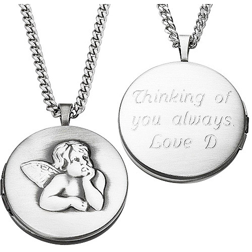 Personalized Engraved Angel Locket Pendant