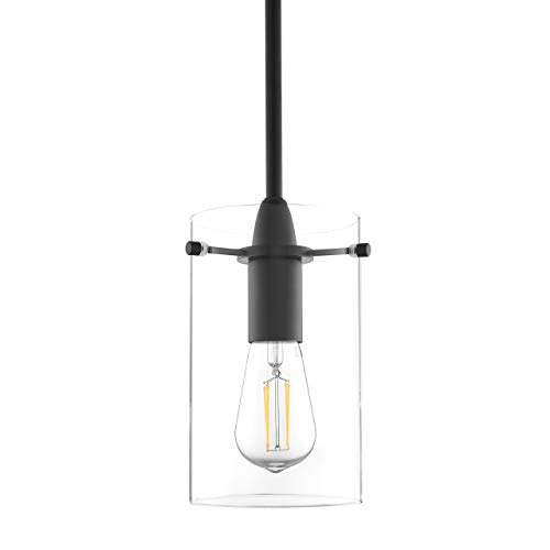 effimero medium hanging pendant light black kitchen island light clear glass shade ll p313 blk