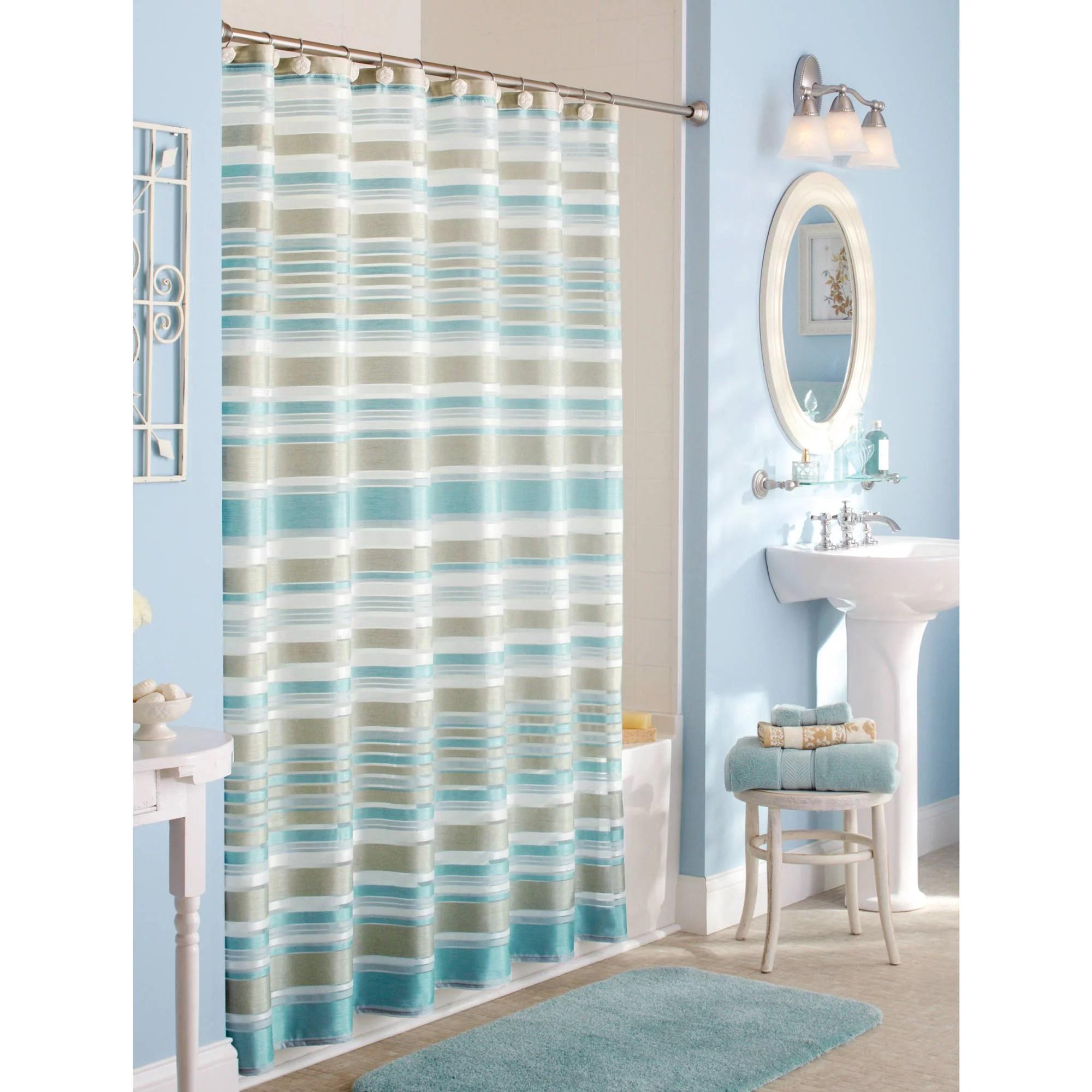 better homes gardens classic stripe fabric shower curtain 1 each walmart com