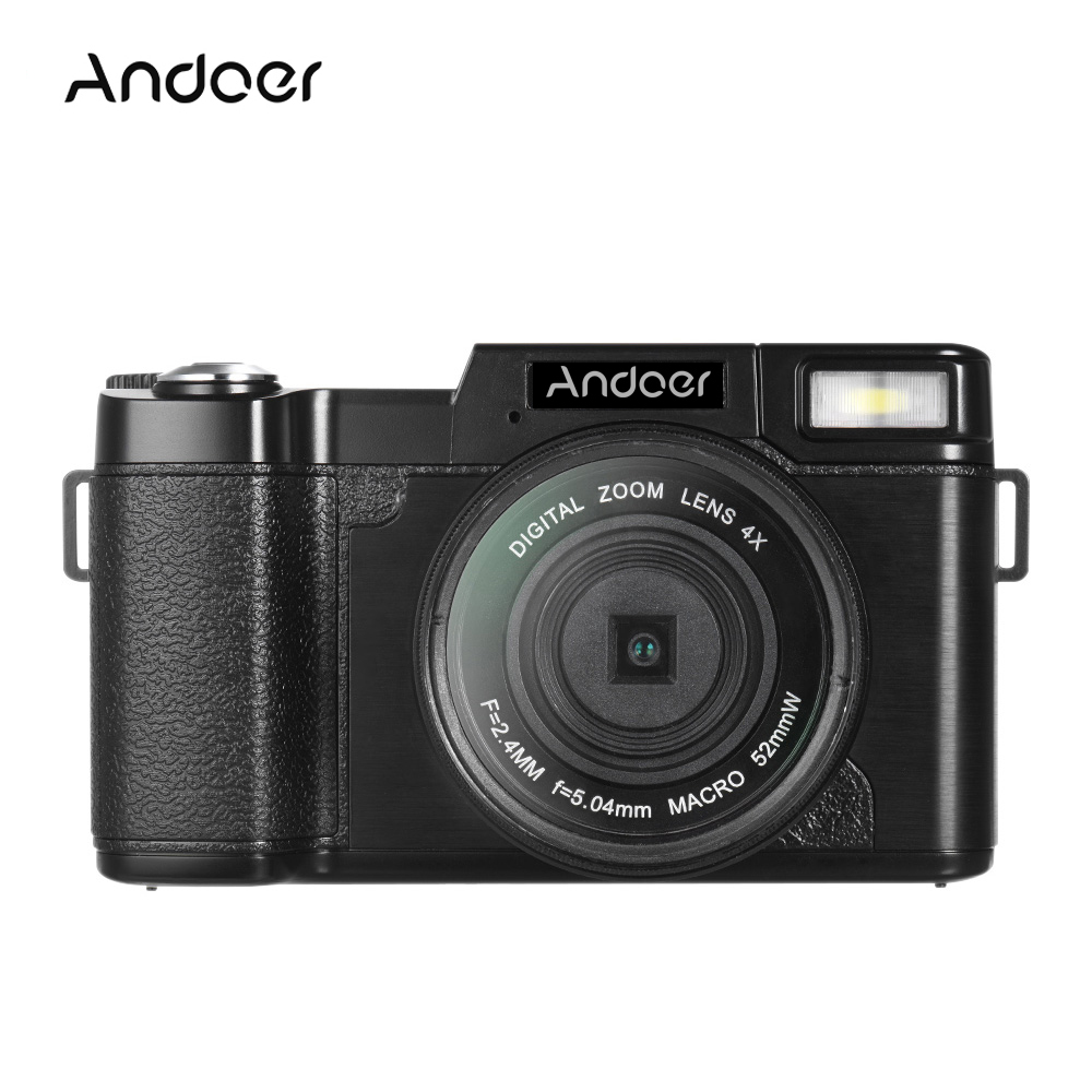 "Andoer R1 1080P 15fps Full HD 24MP Digital Camera Cam Camcorder 3.0"" Rotatable LCD Screen Anti-shake 4X Digital Zoom Retractable Flashlight w/ UV Filter"