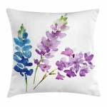 Purple Throw Pillow Cushion Cover Branches Of Watercolor Flowers In Spring Shades Of Purple And Blue Decorative Square Accent Pillow Case 24 X 24 Inches Violet Lavender Azure Blue By Ambesonne