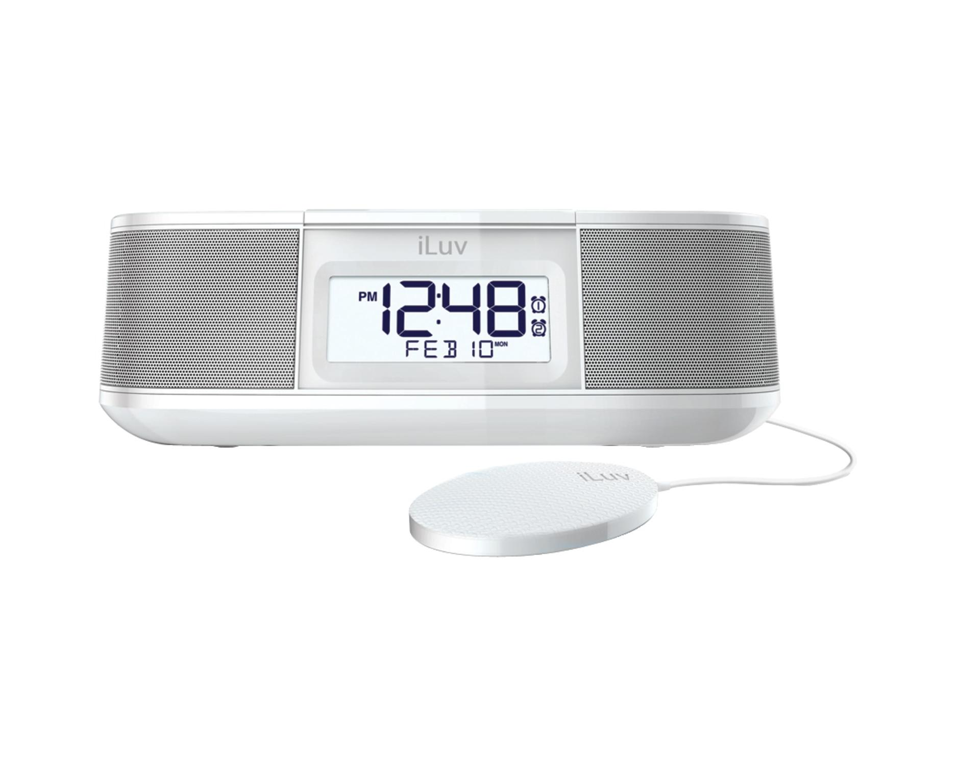 iluv tsmicroulwh timeshaker micro bluetooth dual alarm clock with pillow shaker white