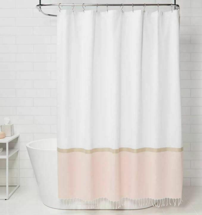 project 62 colorblock woven shower curtain peach