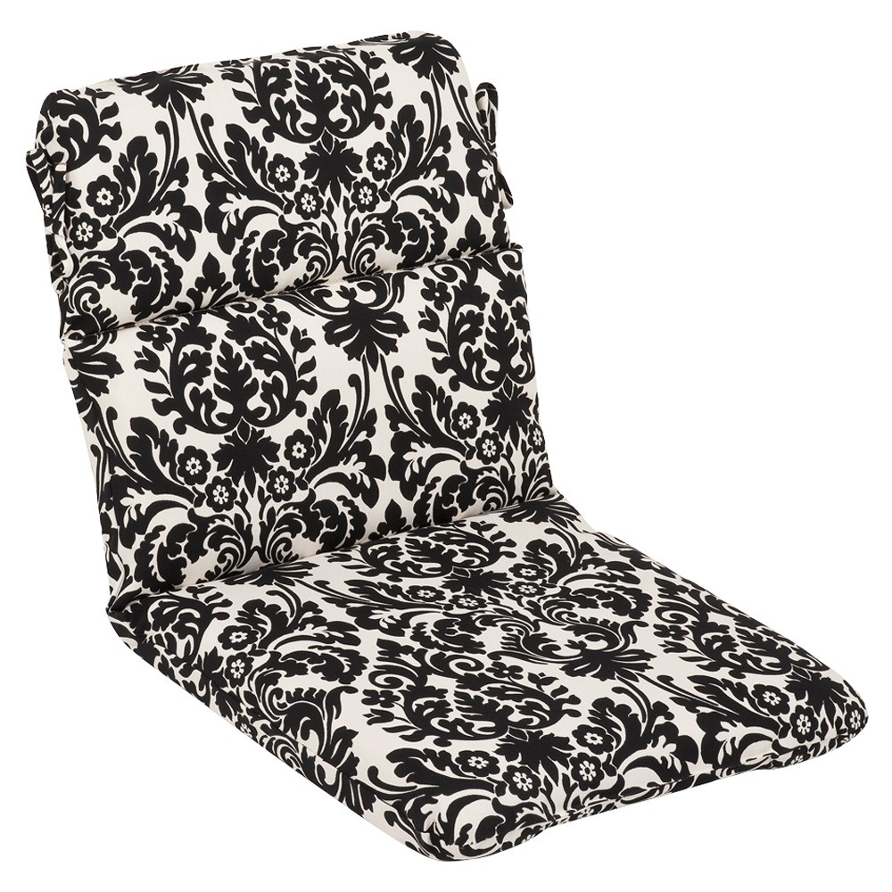 outdoor patio furniture high back chair cushion dramatic black cream damask