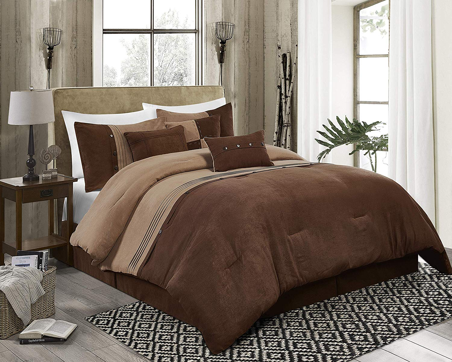 chezmoi collection chandler 7 piece western lodge micro suede bedding comforter set