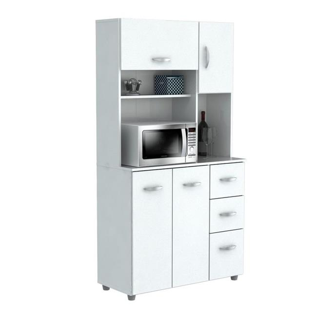 kitchen storage cabinet with microwave cart laricina white