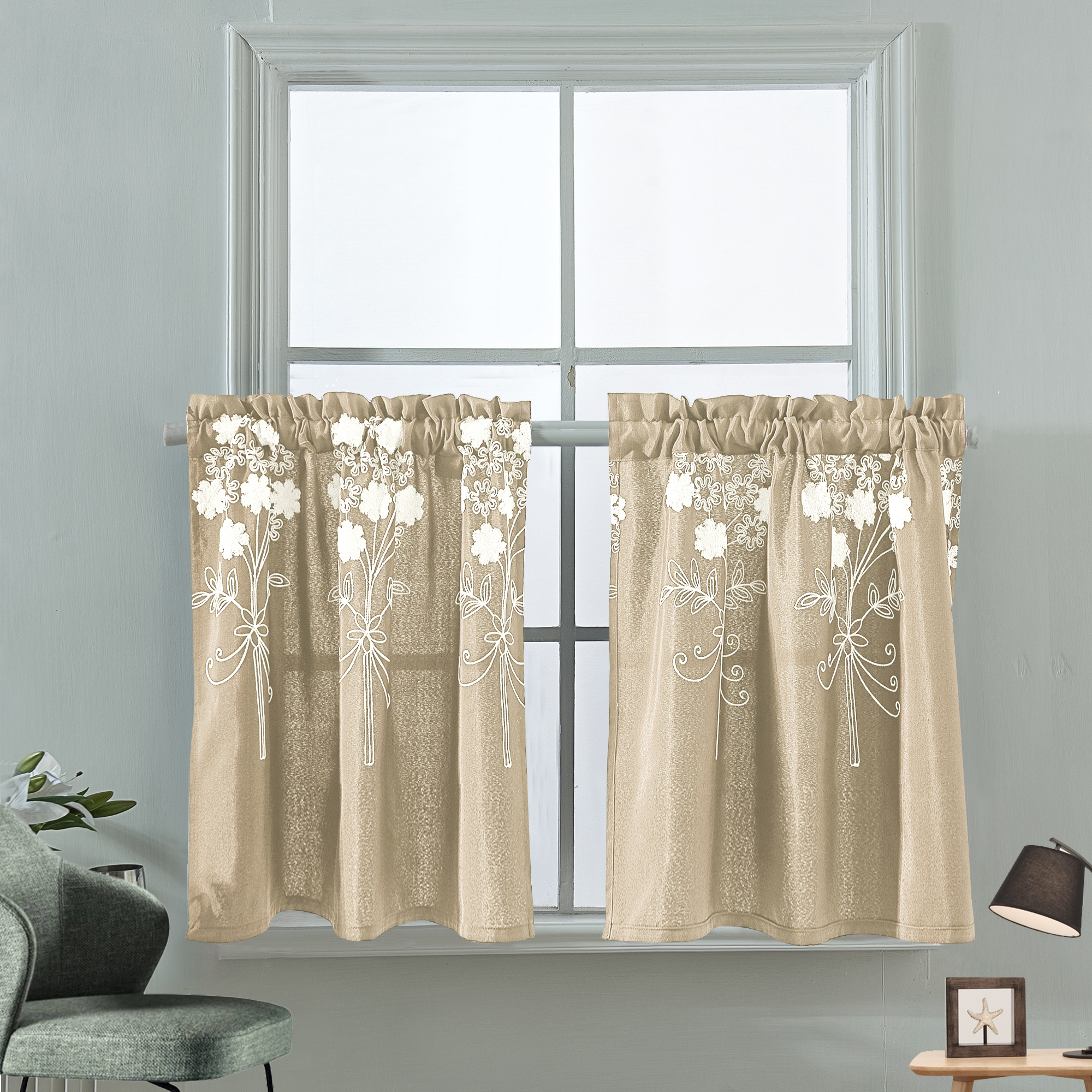 embroidered flower half short curtain kitchen blind cafe curtains panel ready made for kitchen bedroom bathroom window decor beige 74 61cm