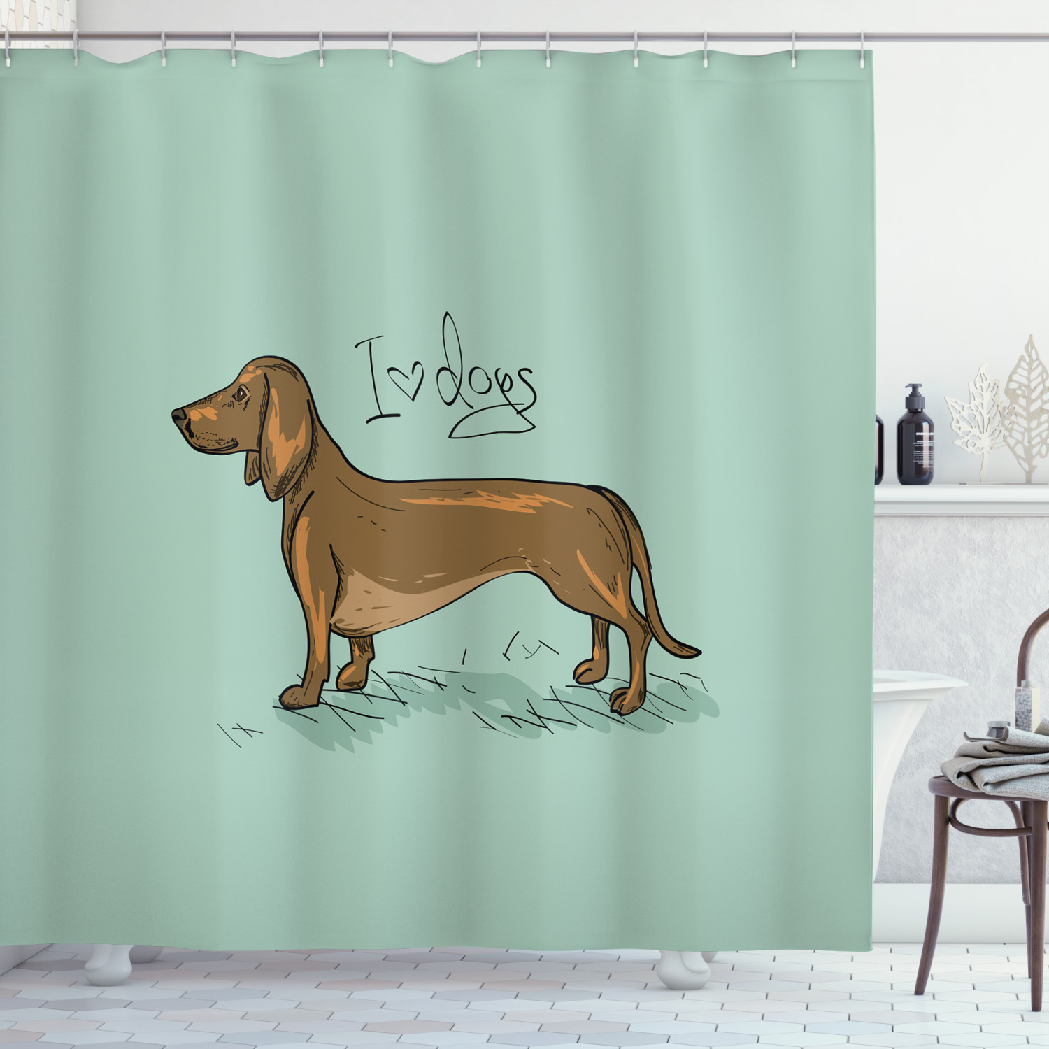 dachshund shower curtain dachshund puppy on an abstract turquoise background pure breed animal fabric bathroom set with hooks turquoise brown