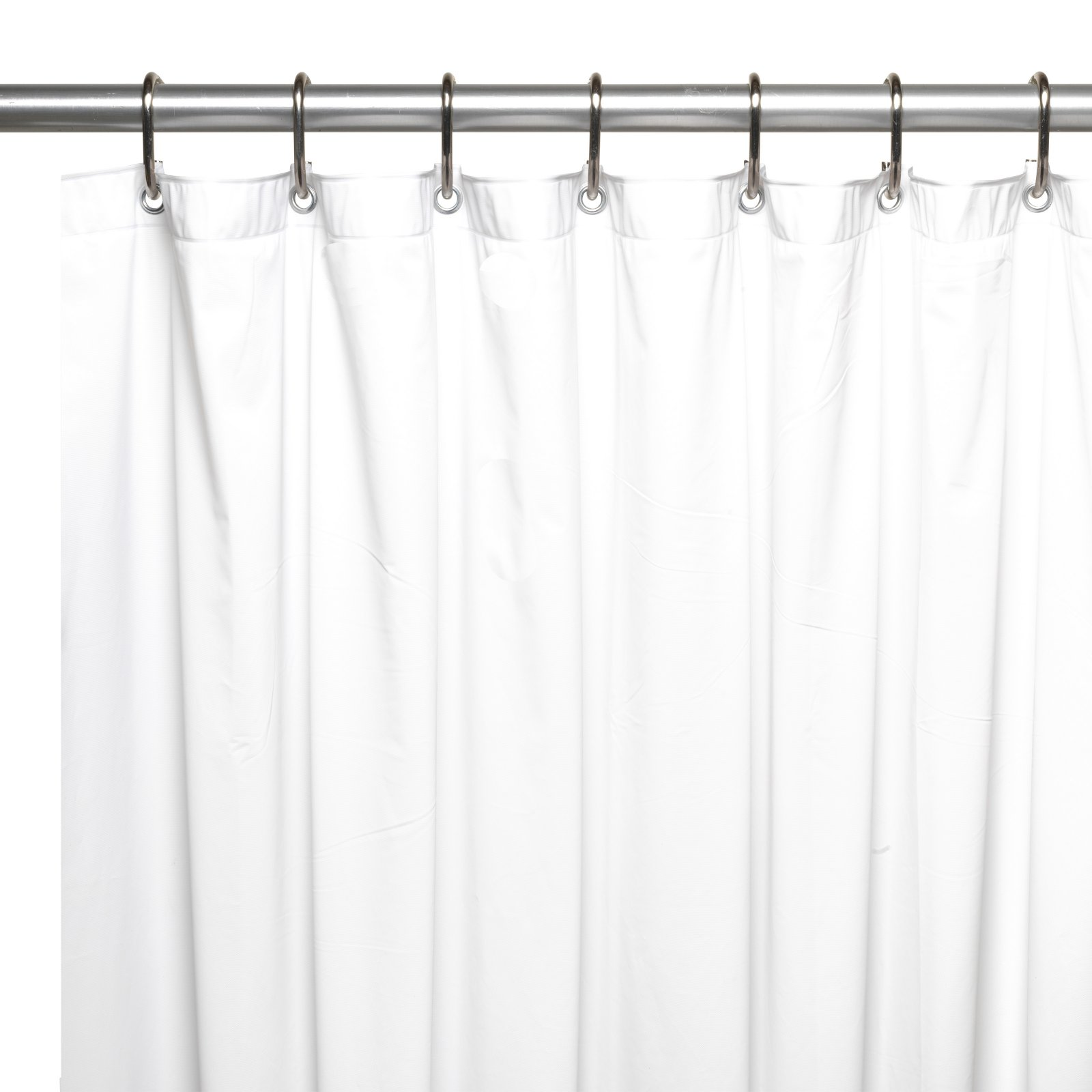 shower stall sized 54 x 78 mildew resistant 10 gauge vinyl shower curtain liner w metal grommets and reinforced mesh header in bone
