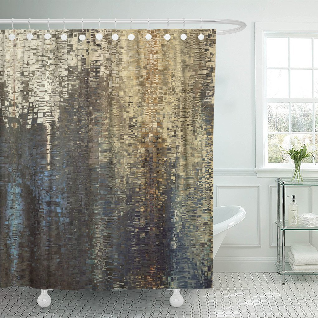 ksadk abstract colored geometric pattern pixel tiled in blue beige black old gold brown and grey colors shower curtain bathroom curtain 60x72 inch
